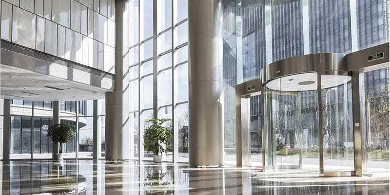 lease management company: skyscraper office building lobby in the city
